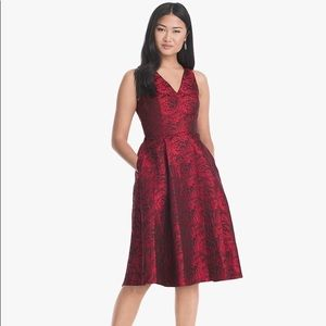 WHBM Rose-print Jacquard Fit and Flare Dress
